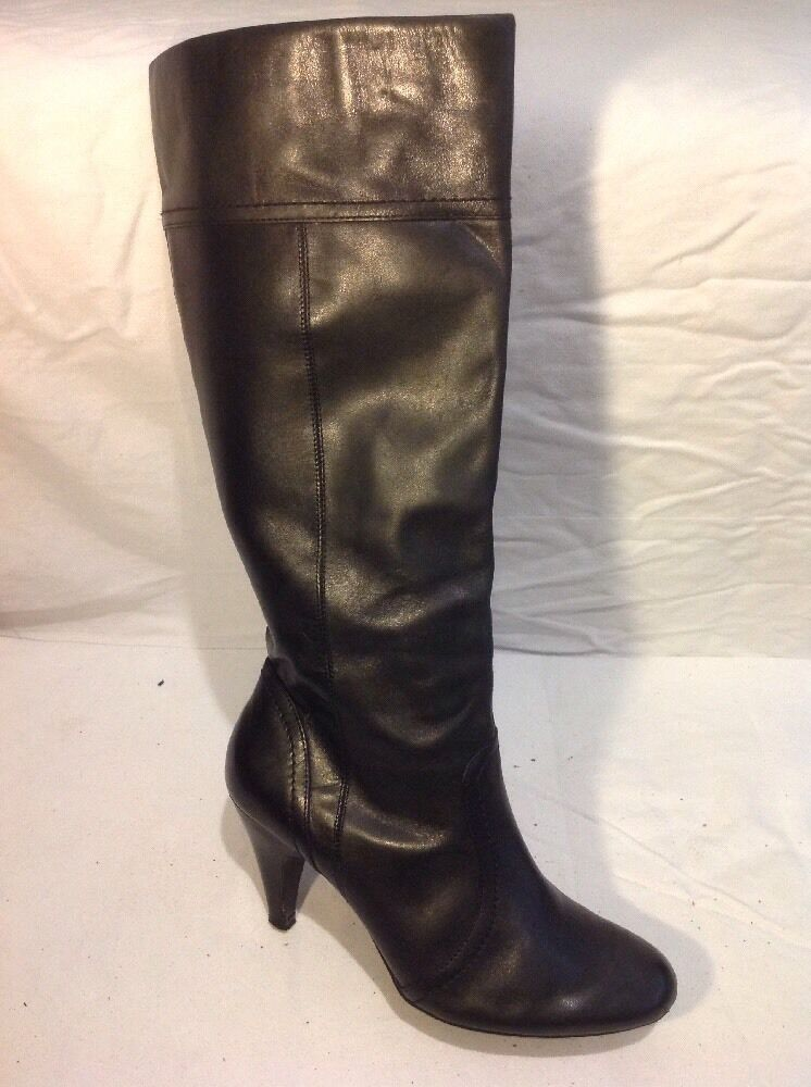 Dorothy Perkins Black Knee High Leather Boots Size 6