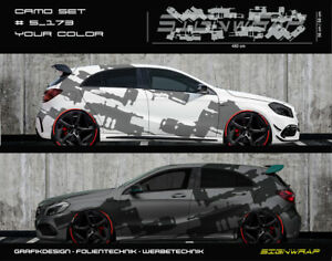 Camo-Set-Camouflage-Seitenstreifen-Autoaufkleber-Wunschfarbe-5-173-2