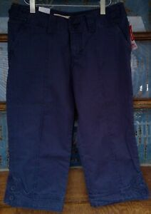 Mossimo womens pants crop low rise junior 7 blue button cuffs adjustable waist