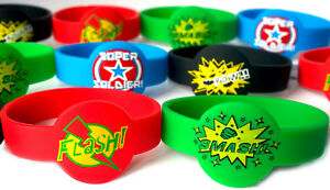 Details About Superhero Wristbands Bracelet 4 For 3 99 Or 8 Party Bag Fillers Boys