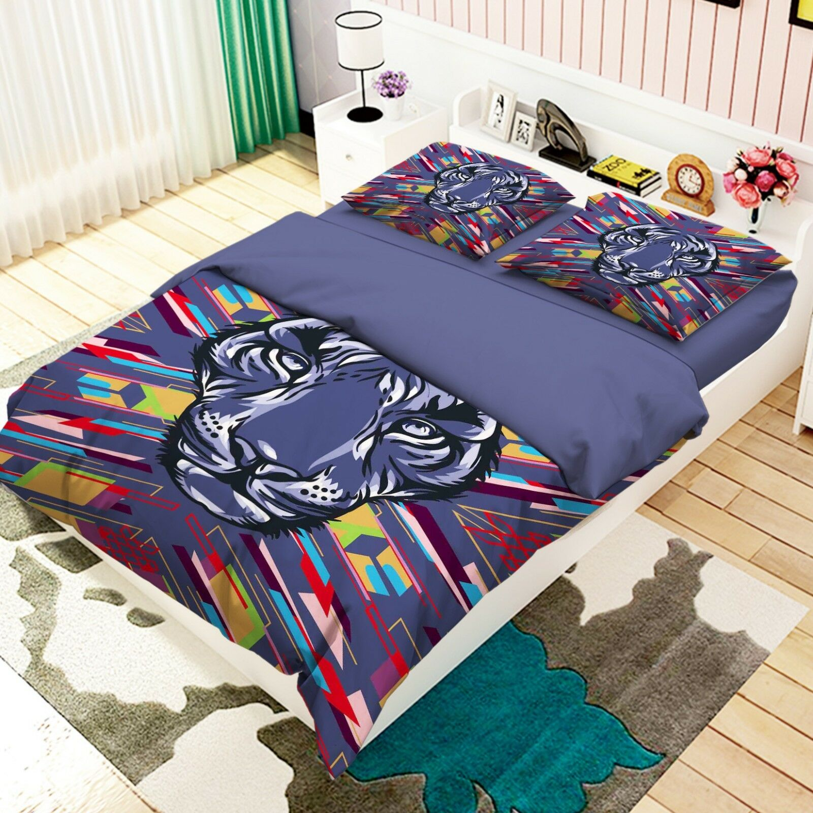 3D Doodle Tiger 688 688 688 Bed Pillowcases Quilt Duvet Cover Set Single King UK Lemon b94467