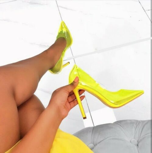 Details about  /Womens Ladies Clear Perspex High Heel Court Shoes Party See Through Clubwear Hot