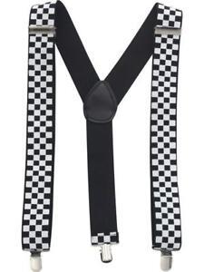 Unisex Fancy Dress Braces Black /& White Check Checkered Pattern Brand New