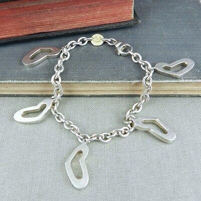 Movado Open Heart Charm Bracelet in Sterling Silver w/ 18K Gold
