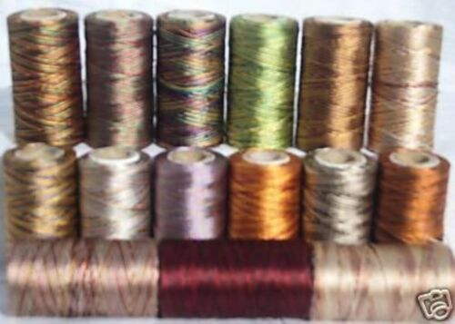 15 Multi Shaded Embroidery Thread Spools  15 different Colours