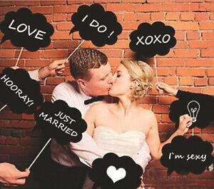 Photo-Booth-Prop-Wedding-Birthday-Party-Black-Card-DIY-Chalkboard-Stick-10-Pcs