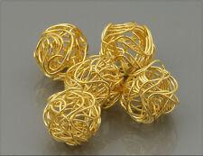 10x Metall Perlen Draht gewickelt gold 12mm wo016