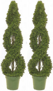 Image Is Loading 2 Cedar Outdoor Topiary Artificial Tree 4 039