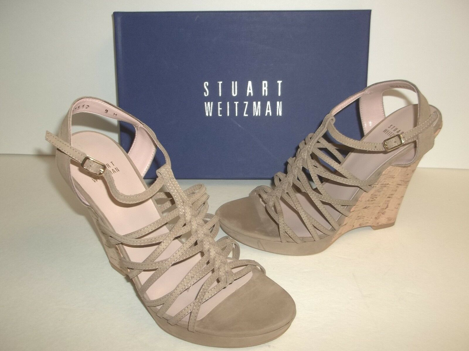 Stuart Weitzman Size 10 10 10 M Barrister Tan Leather Wedge Sandals New Womens shoes 6e92a6