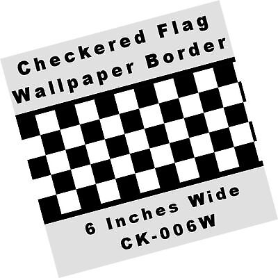 Checkered Flag Cars Nascar Wallpaper Border-6 Inch (Black ...