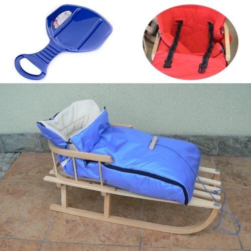 Holzschlitten mit Rückenlehne mit Wintersack Blau Lehne Schlitten aus Holz