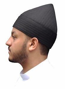 Black Naqshbandi Tariqah Tall Sufi Muslim Kufi Hat Semi-rigid Soft ... 3acd2fe2f86
