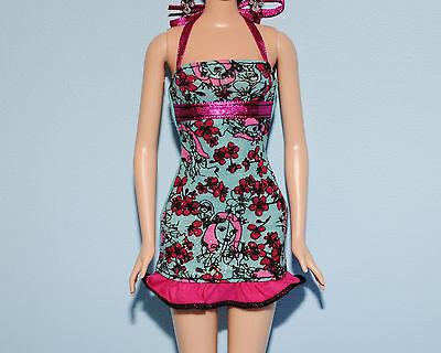 Pink Floral Print /& Black Trim Genuine BARBIE Tan Teal Blue Romper w// White