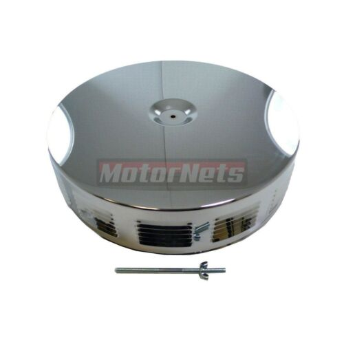 14 Round Louvered Chrome Air Cleaner Kit Drop base Chevy Ford Mopar Hotrod