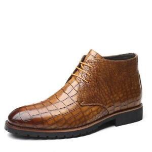 Mens-Leather-Business-Dress-short-boots-Toe-Lace-up-Shoe-Wedding-shoes-Big-size
