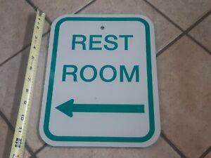 Details About REST ROOM Left Arrow Vintage HEAVY STEEL Metal Sign Decor  BATHROOM Reflective
