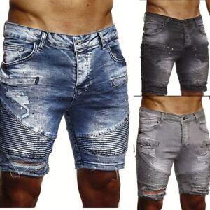 Pantalones Vaqueros Cortos De Verano Para Hombre Moda Casual 3 Colores Elegantes Ebay
