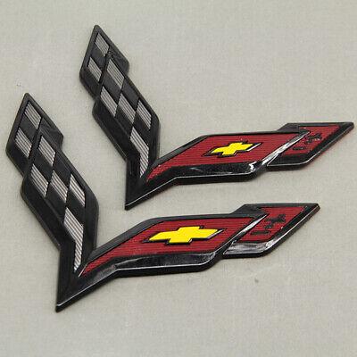 Black Carbon Flash Front /& Rear Cross Flags Emblem Kit For Corvette C7 2014-2017