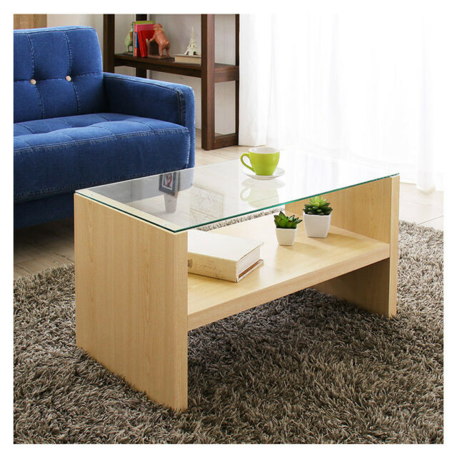 Wooden Coffee Table Gl Top Display