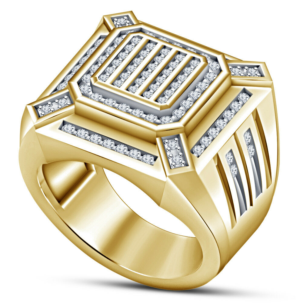 Mens 1.40Ct Round Diamond Wedding Band Engagement Ring 14K Yellow Gold Finish