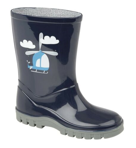 NAVY BLUE HELICOPTER Wellington Boots Size 3 4 5 6 7 8 9 10 11 12 Boys Welly