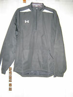 Under Armour White Placket Solid Black Polyester Lacrosse Golf Jacket M