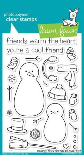 "Stempel /""Making Frosty Friends/"" Lawn Fawn Mütze Handschuh Schal Schneemann"