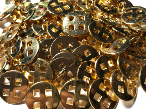 """13 METAL BUTTONS CUT OUT SQUARES SHINY GOLD Finish 18//MM 11//16/"""" Shank Base"""