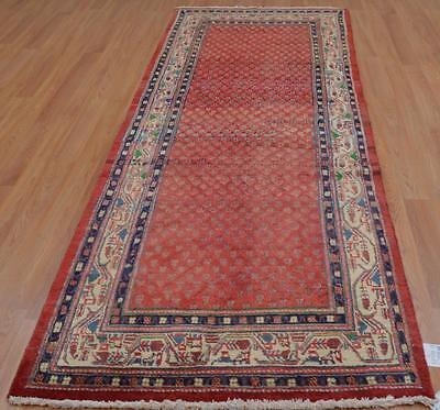 3'7x10'4 Authentic Semi Antique Persian Tribal Paisley Handmade Wool Runner Rug