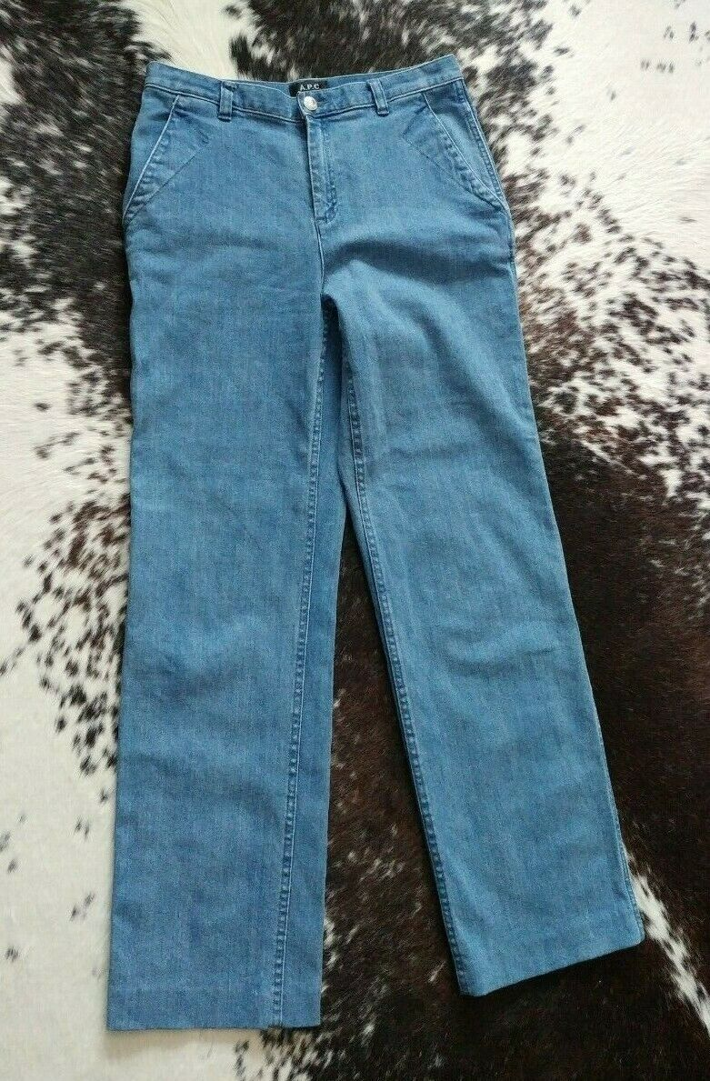 A.P.C. France High Rise Straight Leg Washed Denim Jeans SZ28 Minimal Trendy Luxe
