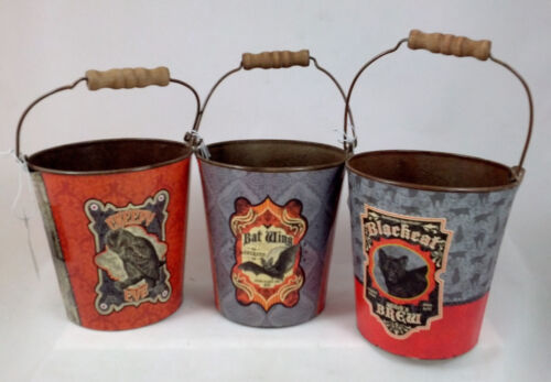 fashion brands HALLOWEEN TIN BUCKETS set of 3 Black Cat Owl and ...