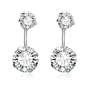 Image Is Loading Platinum Plated Front Back Cubic Zirconia Stud And