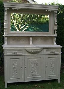 Painted-carved-mirrored-dresser