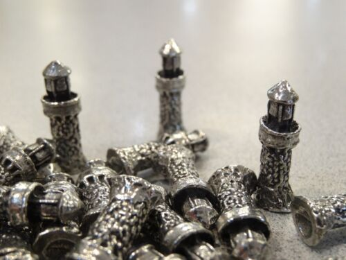 LOT OF 25 PEWTER MINIATURE LIGHTHOUSE FIGURINES LEAD FREE HAND CAST