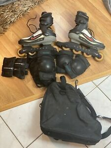 Nike-Zoom-Air-Carbon-Rollerblades-Roller-Skates-Mens-12-Hockey-w-pads-carry-bag