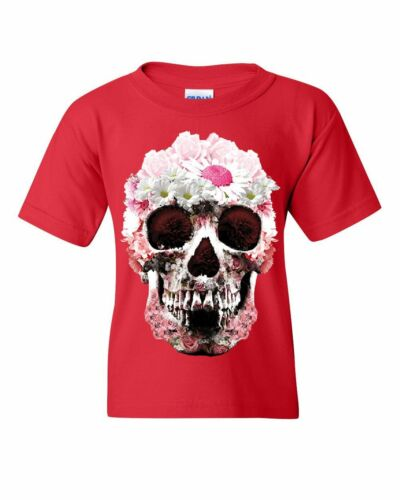 Sugar Daisy Skull Youth T-Shirt Day of the Dead Mexico Flower Calavera Kids Tee