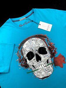 Robert-Graham-Skull-Rose-Jamz-T-Shirt-Crewneck-Tee-Teal-Mens-Size-3XL