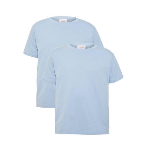 John Lewis School Cotton Crew Neck T-Shirts Pack of 2 Blue Age 8 BNWT Chest 64CM