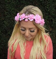 Pink Rose Flower Headband Hair Crown Wreath Festival Garland Bridesmaid Vtg 2543