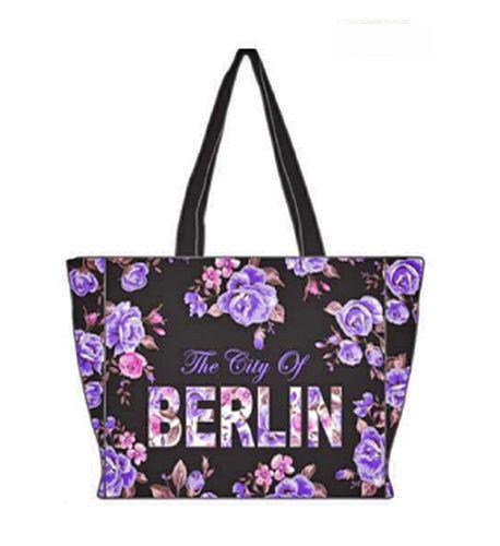 ROBIN RUTH City Shopper Tasche Berlin Flowers NEU Schwarz Lila Städtetasche Rose
