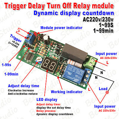 AC 220V 230V LED Display Trigger Timing Timer Delay Switch Turn OFF Relay Module