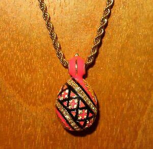 EGG-pendant-Genuine-Russian-Necklace-ORANGE-BLACK-ENAMEL-amp-Swarovsky-Crystals