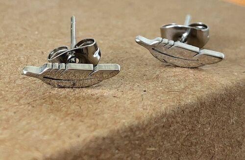 UK SELLER Feather Shape Stainless Steel Small Stud Earrings LADIES WOMENS