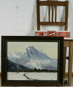 Heinrich-Baakes-Oil-Painting-Antique-Alps-Glacier-Snow-Mountains-Gipfel