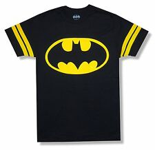 """BATMAN """"CLASSIC JERSEY"""" STYLE BLACK T-SHIRT NEW OFFICIAL ADULT SMALL S"""