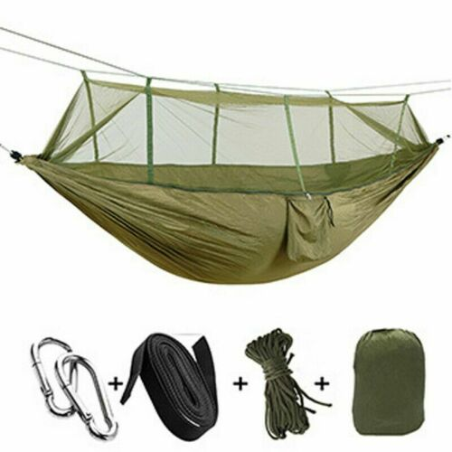 Double Person Travel Hammock Camping Tent Hanging Bed With Mosquito Tent Net UK