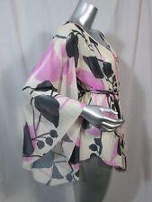 Sweet Pea Mesh Top - Angel Sleeve & waist tie ivory pink/purple black S blouse