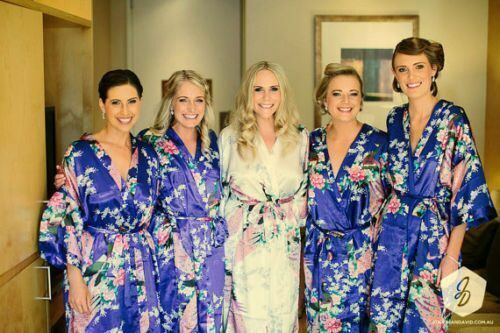 Silk Short Wedding Bride Bridesmaid Robe Women Floral Bathrobe Kimono Robe