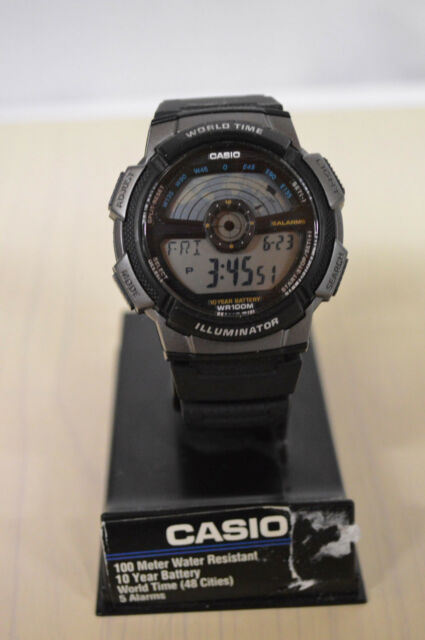 0e0eff998f1b Casio AE1100W-1A Mens 100M Lcd World Time Sports Watch 10 Year Battery Dual  Time