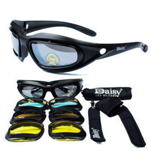 4 Coloured Lenses Case Clay Pigeon Shooting Glasses //Tactical Airsoft glasses